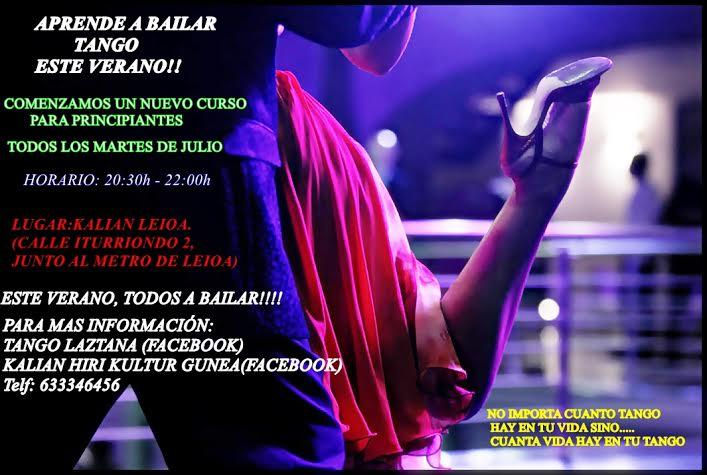 TALLER MES JULIO DE INICIACIÓN AL TANGO (30 JUNIO CLASE ABIERTA)